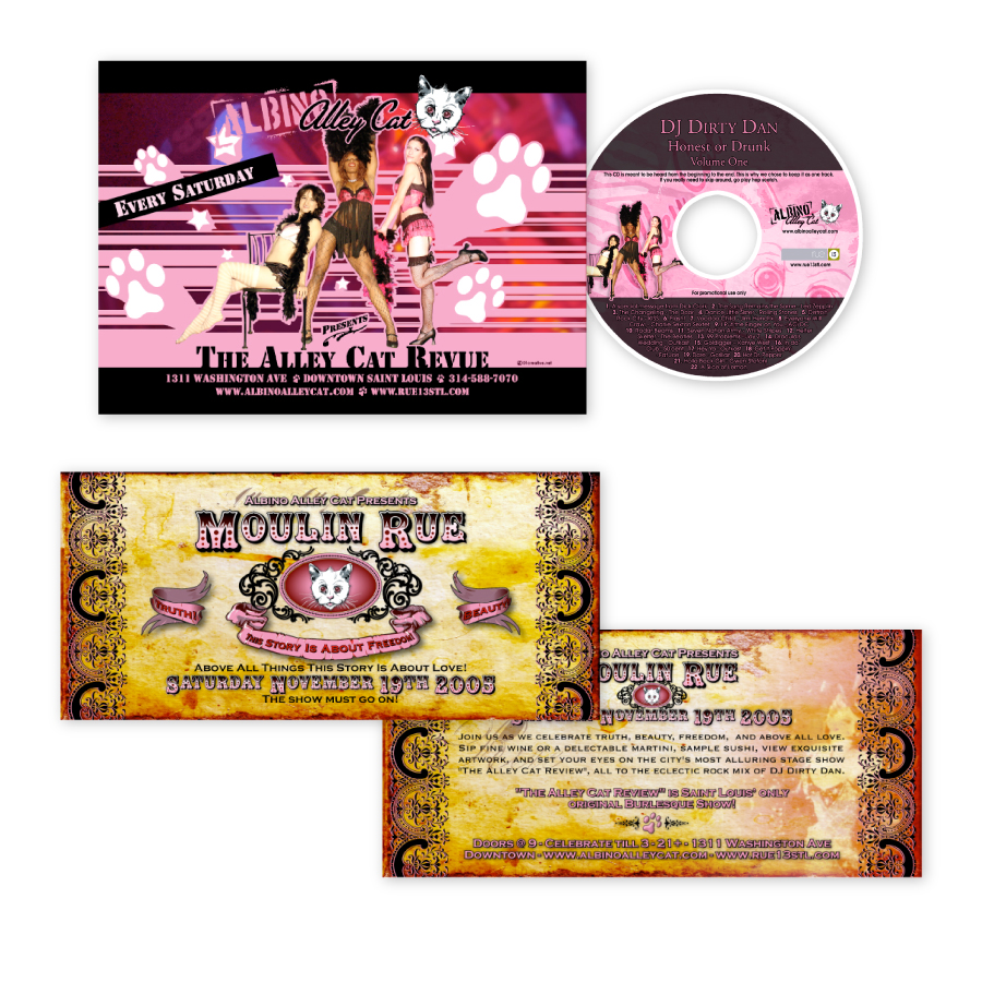 // Albino Alley Cats Handbills & CD Design